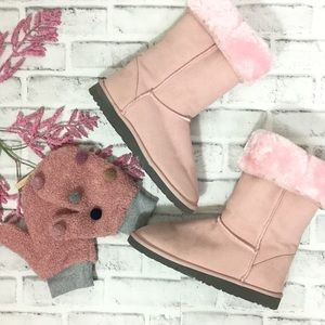Pink suede faux fur UGG boots 9